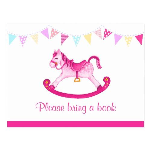 Bring a book - girl baby shower pink postcard