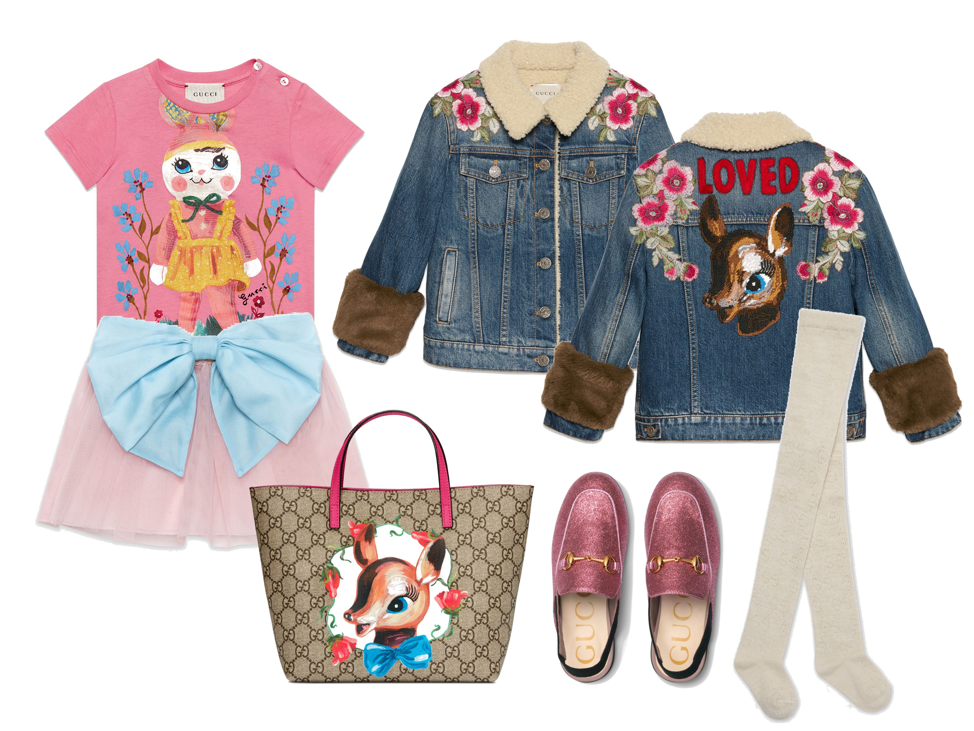 e376d7843 Gucci Set #9 (for Little Girls) Items: Baby T-shirt with doll print Baby tulle  skirt with bow Children's Princetown glitter slipper Children's embroidered  ...
