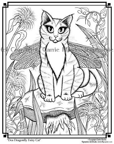 Coloring Page Dea Dragonfly Fairy Cat Coloring Pages Coloring