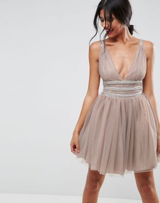 Tulle Strappy Embellished Midi Skater Dress - Mint Asos YrA5FvwFSG