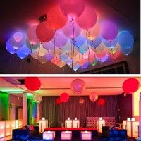 Wish | 10PCS LED Balloons 12 Inches Latex Multicolor Lights Luminous Balloon Christmas Hollween Decor Wedding Birthday Party Supplies