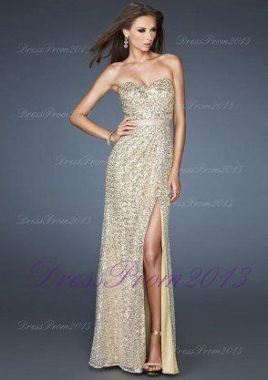 Strapless Sequin Gold Long High Slit Open Back Prom Dress [Gold Long ...
