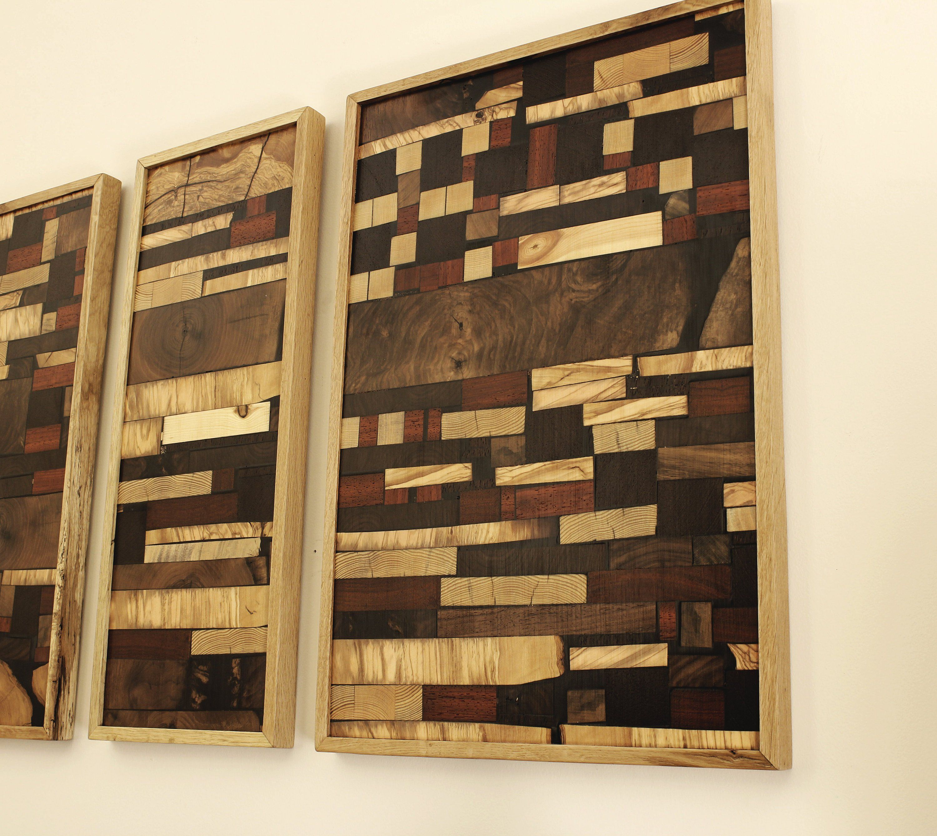 Reclaimed Wood Wall Art Set Of 3 Parts