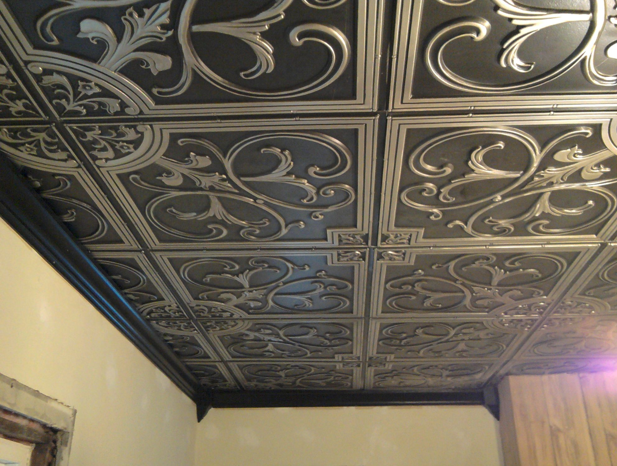 Faux tin ceiling tiles cheap decorating ideas pinterest faux faux tin ceiling tiles cheap dailygadgetfo Images