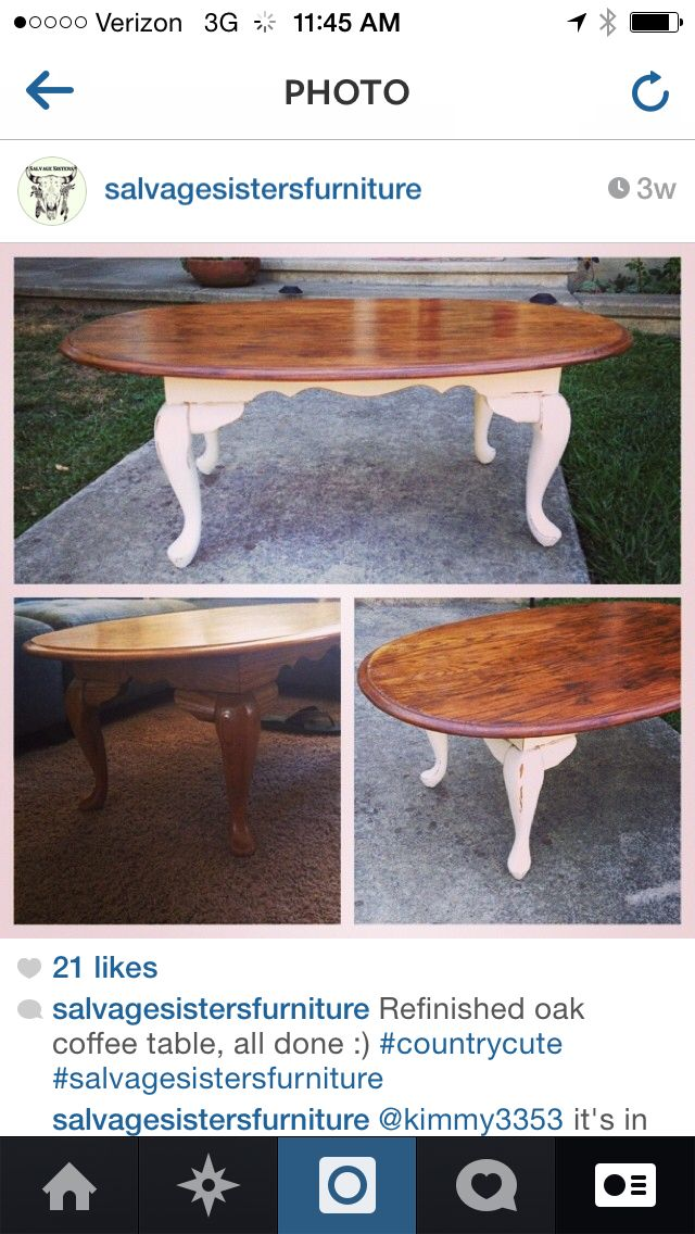 Superior Oak Coffee Table Gets A Great Farm House Make Over, Salvage Sisters Furniture  Stripped The Varnish Off This Piece, Stained The Top, And Painted The Legs  An ...