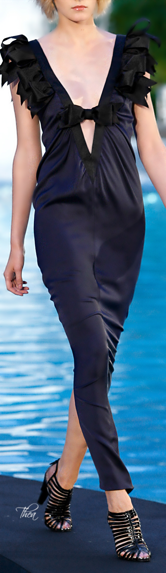 Chanel ~ Cruise Low V Neckline Maxi, Black 2015 The ribbons looking like feathers