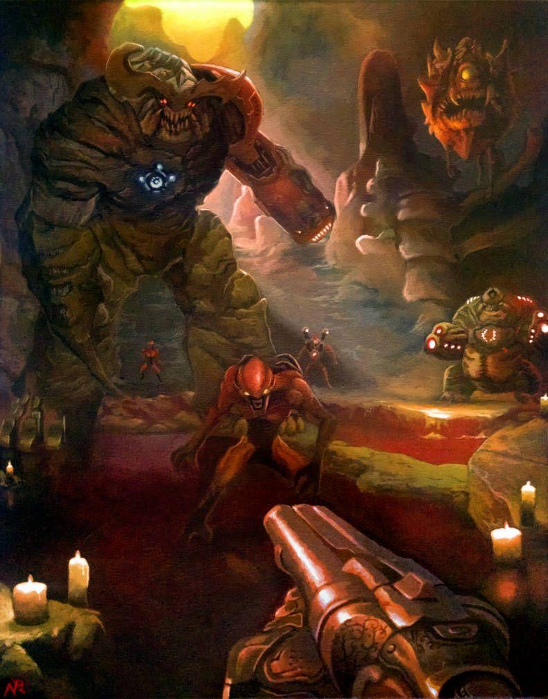 Doom Painting By Xous54 With Images Doom Videogame Doom Doom 4