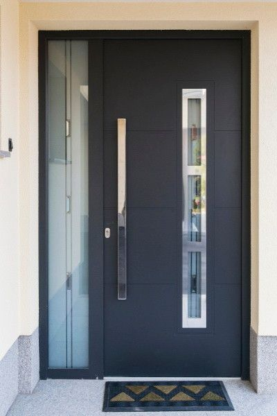 Modern black front door ideas black door black front for Glass door in front of exterior door