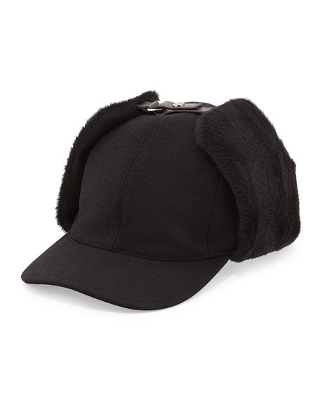 c6801d26b1c81 Prada Wool and Shearling Trapper Baseball Cap