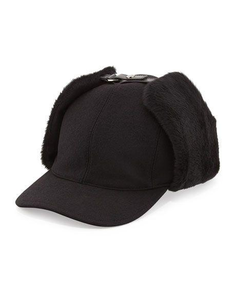 746da421cd9 Prada Wool and Shearling Trapper Baseball Cap