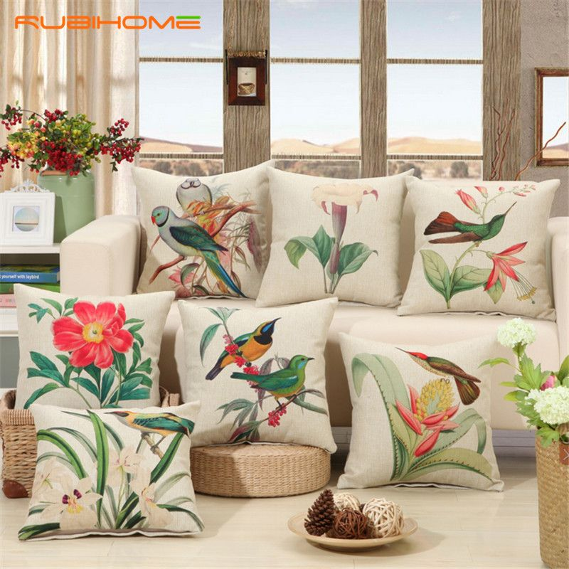 Rubihome Birds Print Cushions No Inner Design Flower Polyester Home Decor Sofa Car Seat Decorative Throw