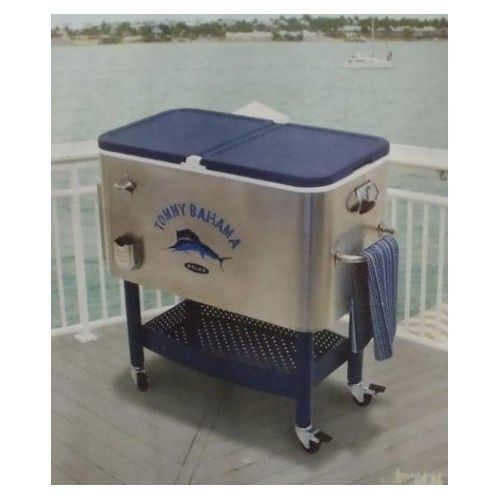 Patio Cooler Ice Chest Tommy Bahama Stainless Rolling 100 Quart Cold Drink Pool