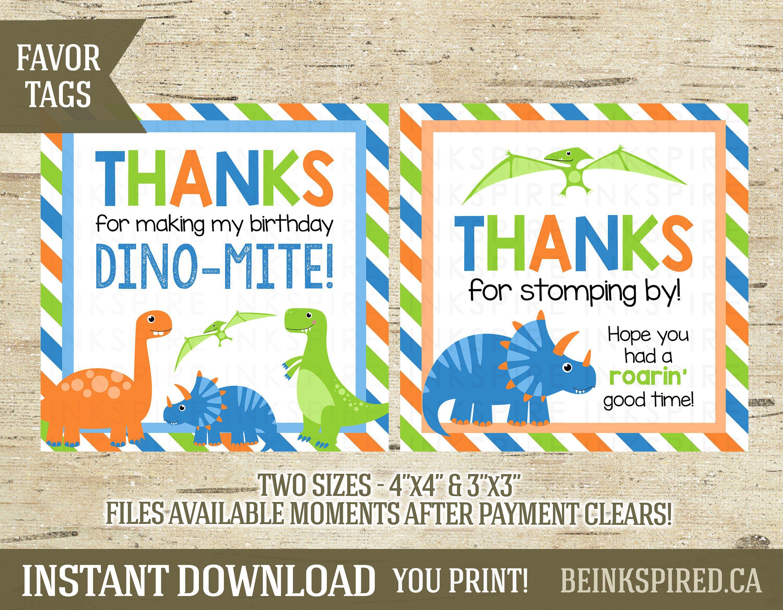 Digital DIY file Dinosaur favor tag KB148 Instant Download Rustic realistic dianosaur thank you tag 2 inch circle
