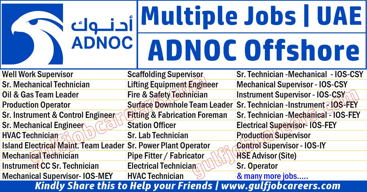 ADNOC Offshore (ZADCO) Job Vacancies 2019 | Job Search Oil & Gas