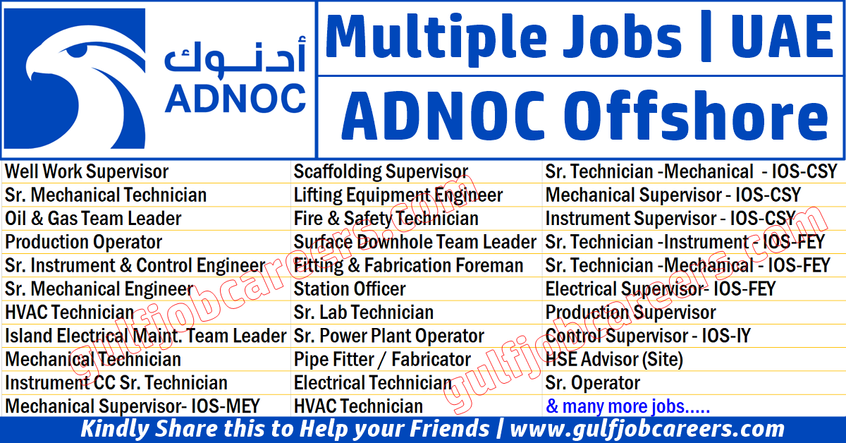 ADNOC Offshore (ZADCO) Job Vacancies 2020 Mechanical