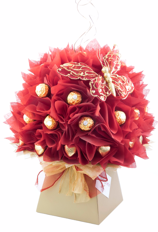 red camellia chocolate bouquet I www.thechocolateflorist ...