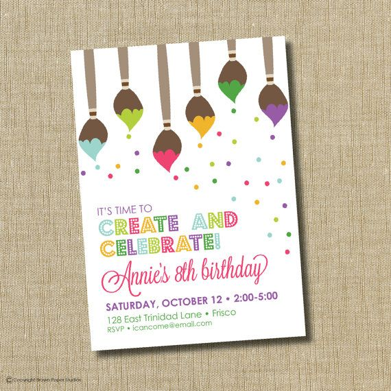 paint party invitation art birthday party invitation art pary