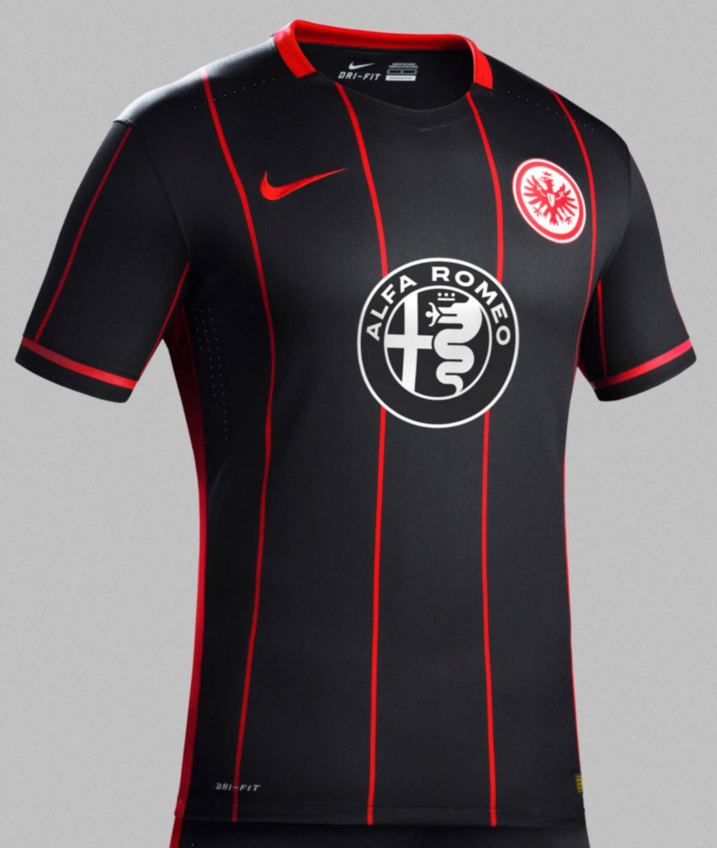 The new Nike Eintracht Frankfurt Home Kit features a fresh pinstripes  design, while the Eintracht Frankfurt Away Kit is kept simple in white and  black.