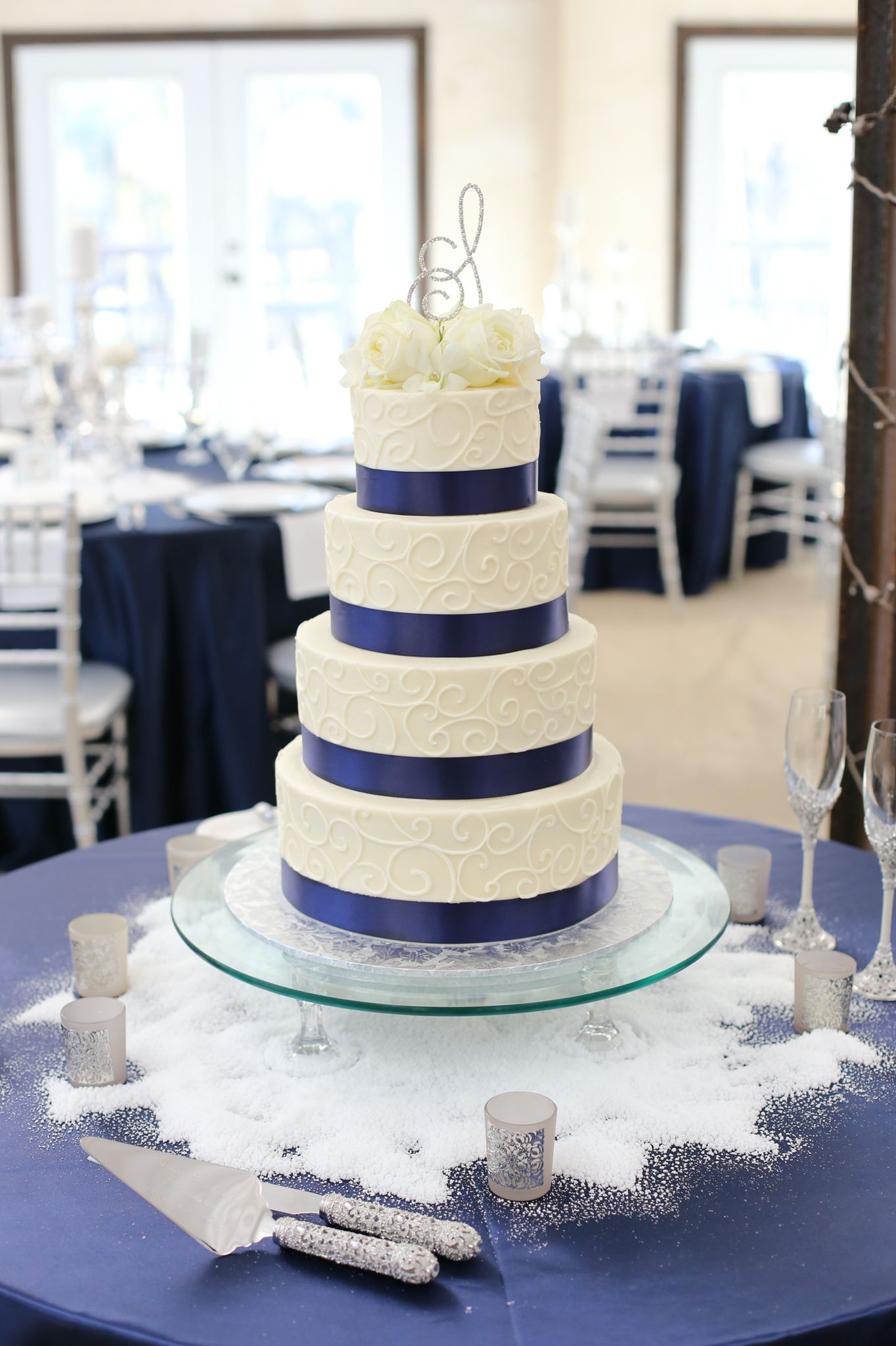 Navy Wedding Cake, Scroll work Wedding Cake www.indulgesweetshoppe ...