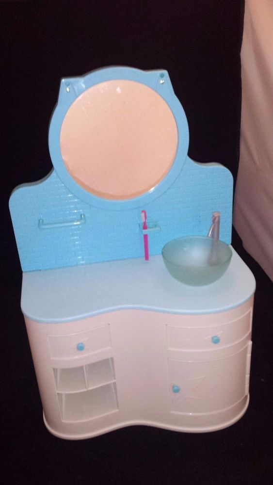 American Girl - A Light Up Blue Vanity Set With A Mirror, Sink, And  Toothbrush