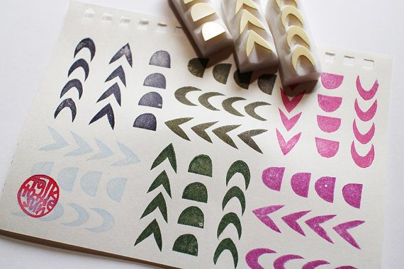 Abstract Geometric Background Square Rubber Stamp for Stamping Crafting