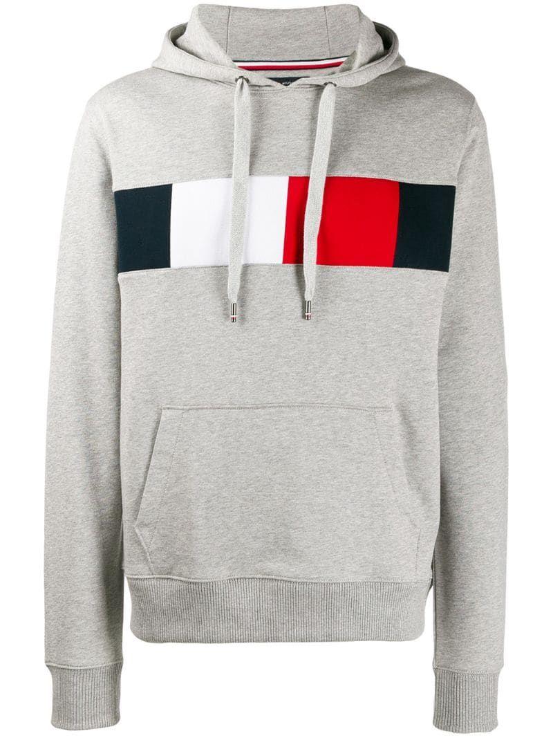 Tommy Hilfiger Logo Drawstring Hoodie Grey Hoodies Hoodie Design Hoodies Men [ 1067 x 800 Pixel ]