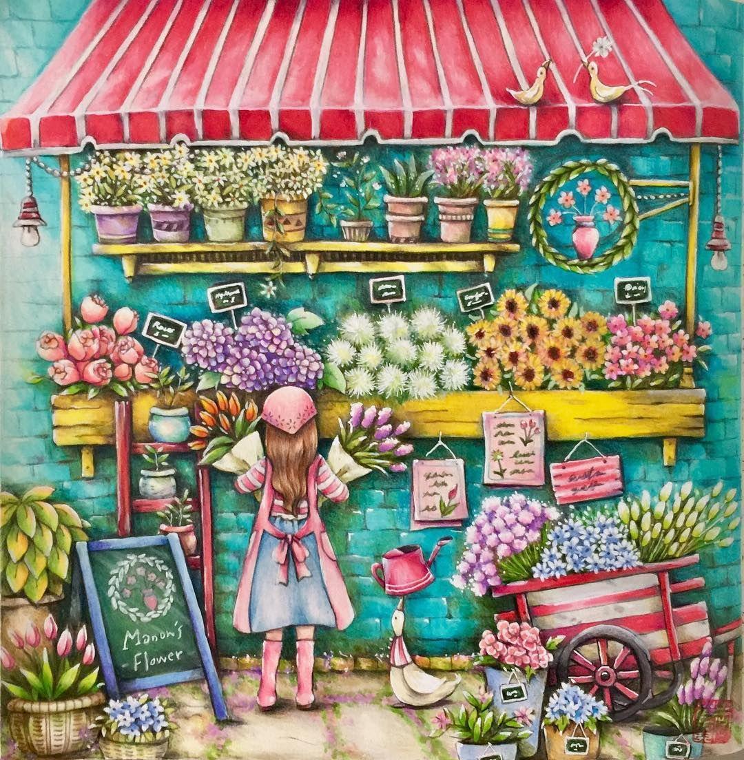 1,648 отметок «Нравится», 77 комментариев — Cherry Lee (@cherrycolours) в Instagram: «A quick one for spring! Fun doodling the flowers.. ☺️#romanticcountrycoloringbook #eriy…»