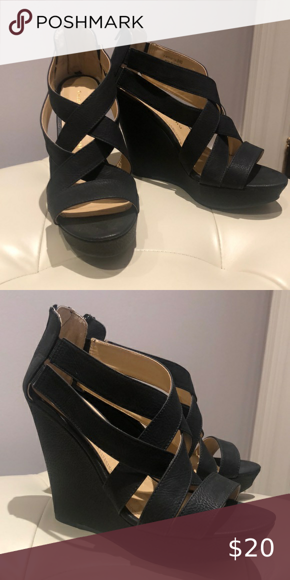 Chinese Laundry Black Strappy Wedges Never Worn Chinese Laundry Shoes Wedges In 2020 Black Strappy Wedges Strappy Wedges Womens Shoes Wedges