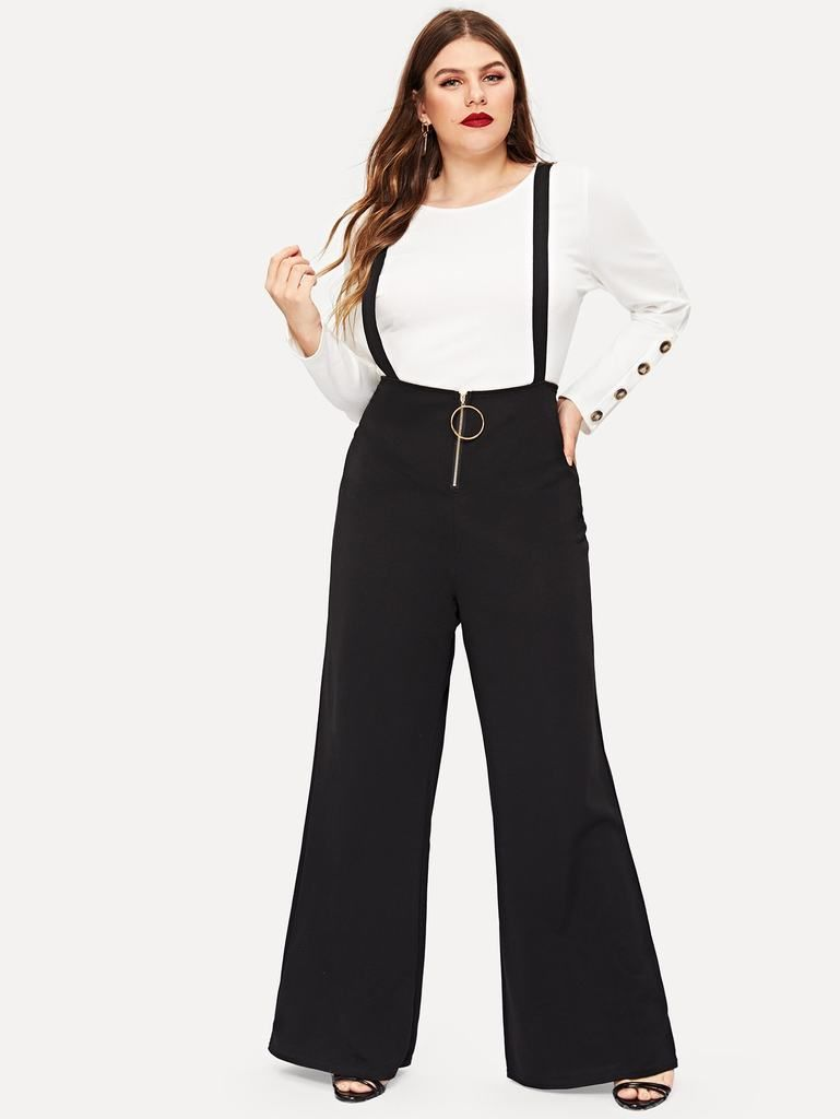 dea464b67a41 Plus Solid Zip Front Pinafore Pants in 2019 | Women's Plus Size ...