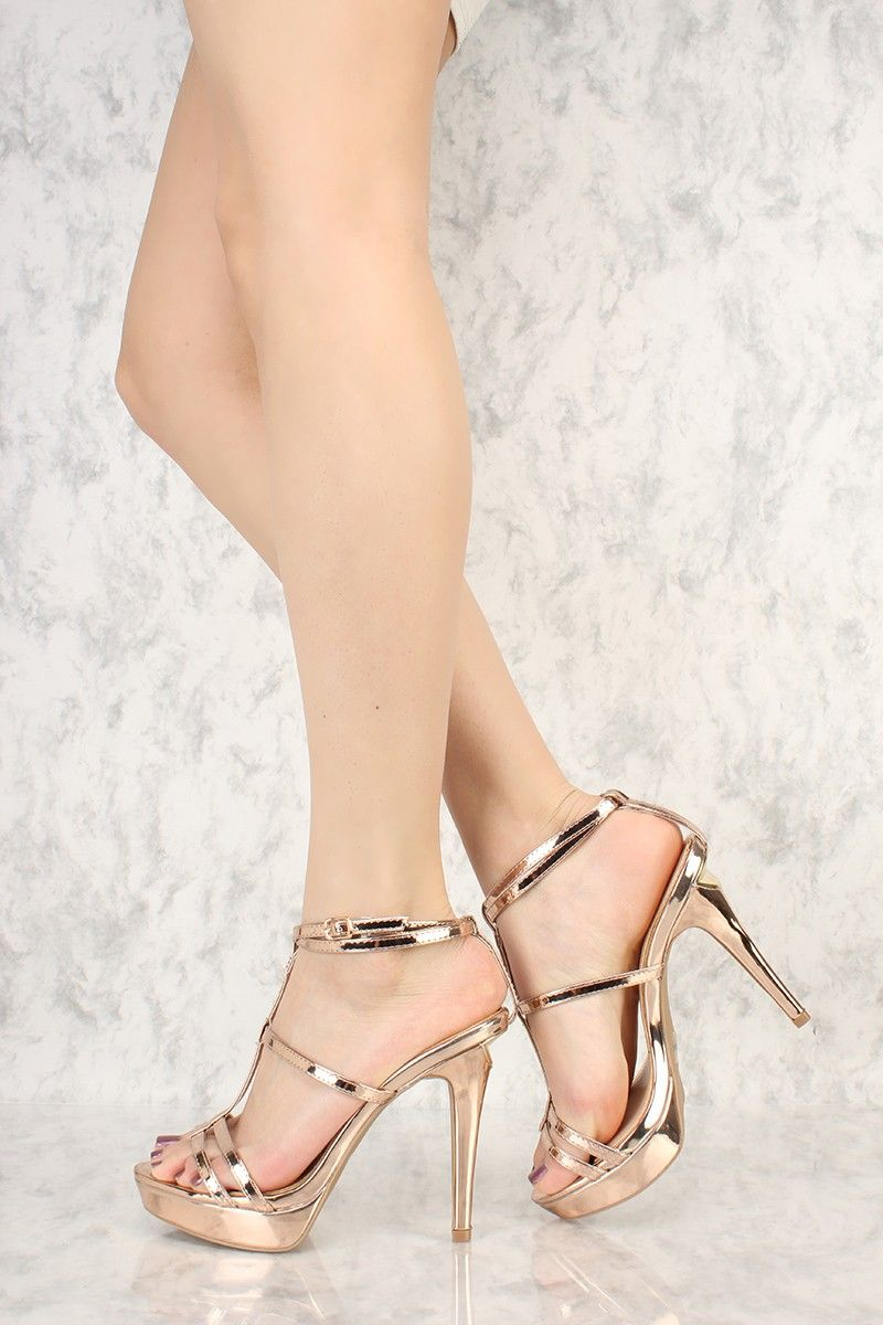 224f0f2ae70298 Rose Gold Metallic Strappy T-Strap Open Toe Platform Pump High Heels Faux  Leather