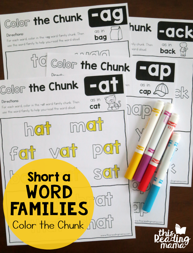 Color the Chunk - Short a Word Families | Kind