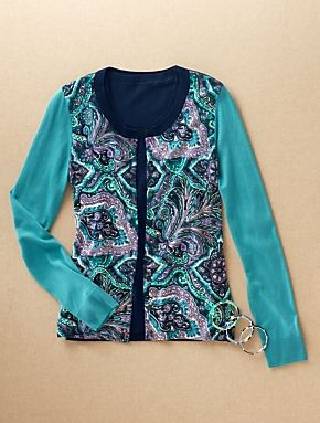 Talbots - Charming Colorblocked Paisley Cardigan | New Arrivals | Misses