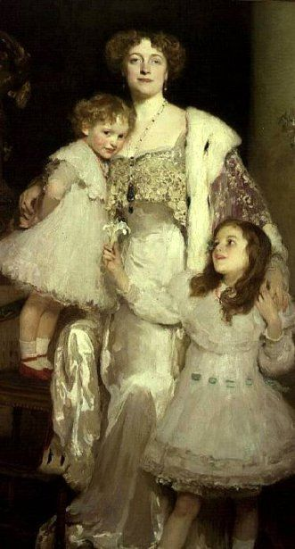 Mrs. Alfred Mond, later Lady Melchett, And Her Two Daughters, Mary And Nora