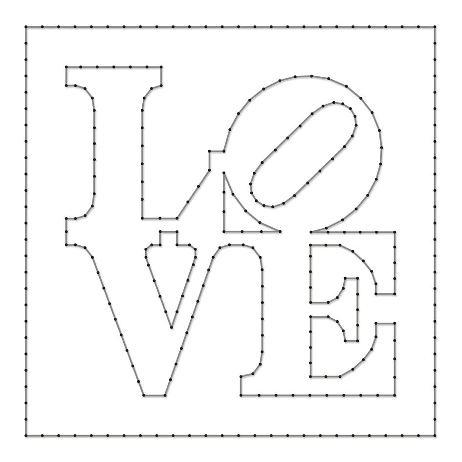 String art pattern sheet love designed by robert indiana for String craft patterns