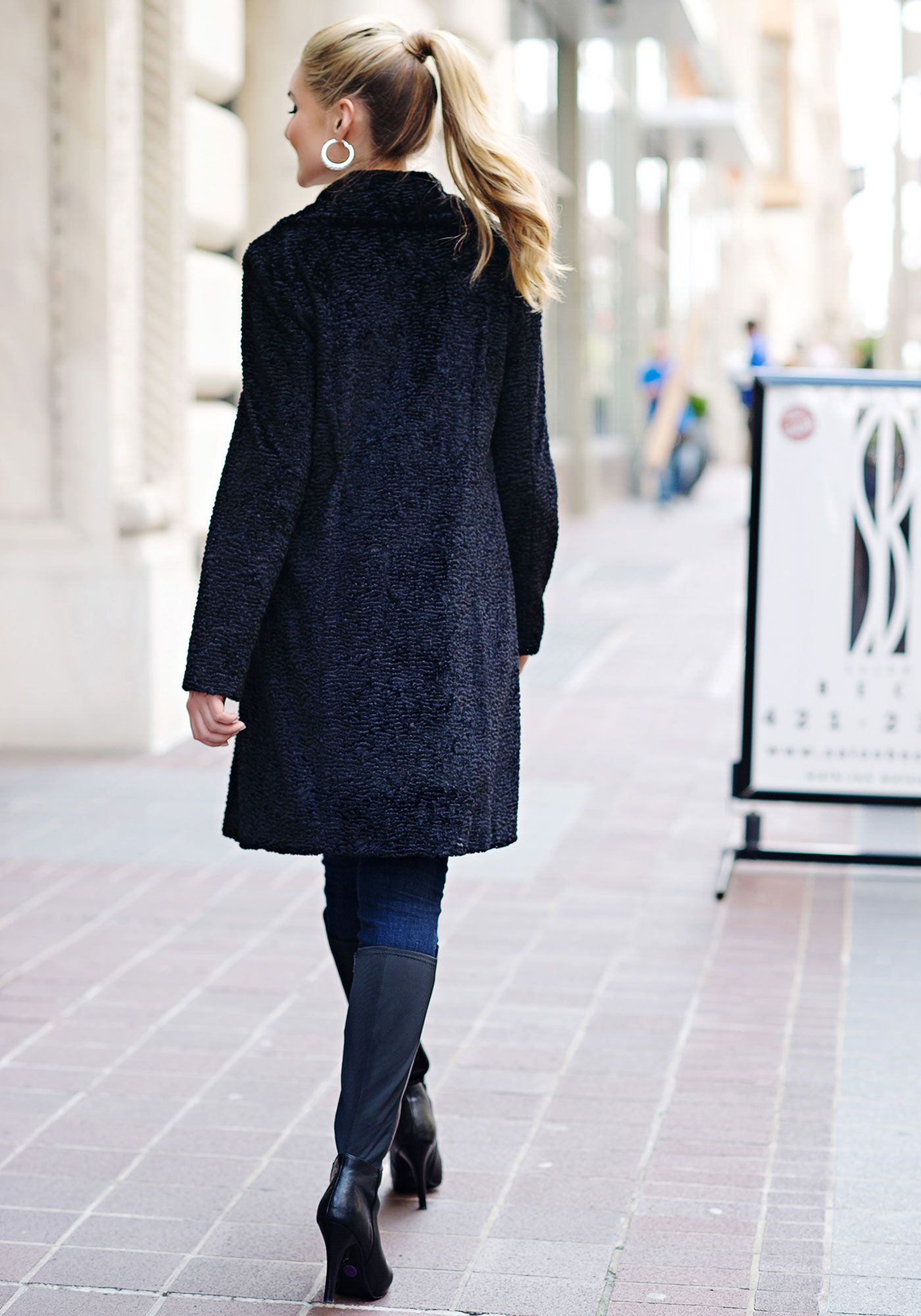 Black Persian Lamb Faux Fur Knee Length Coat Coat