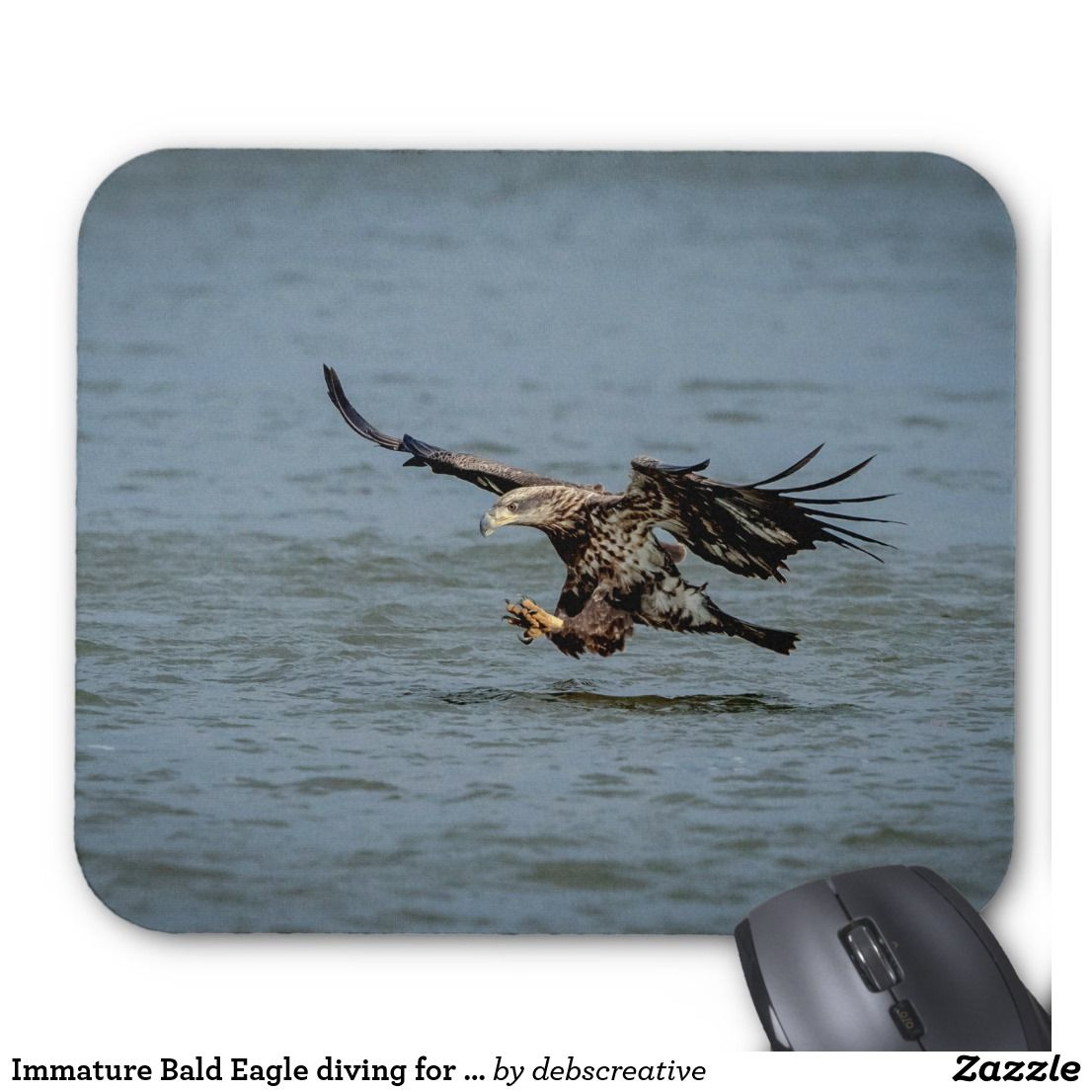 Immature Bald Eagle Diving For A Fish Mouse Pad Zazzle