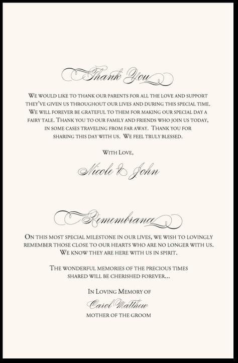 In Remembrance Wedding Program  Wedding Program Thank You Wording