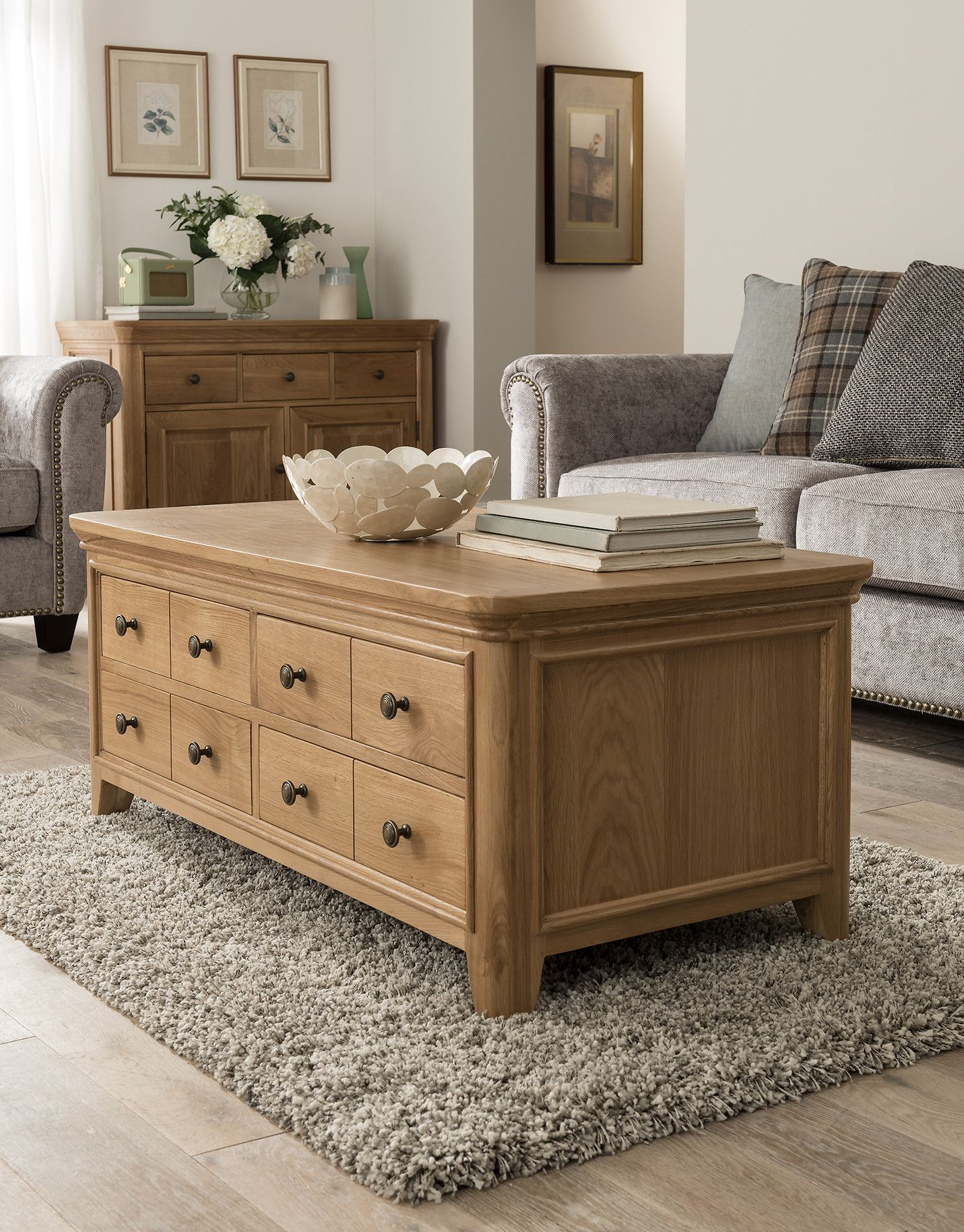 Carmen Solid Oak Coffee Table With Drawers Solid Oak Coffee Table Oak Furniture Living Room Coffee Table With Drawers