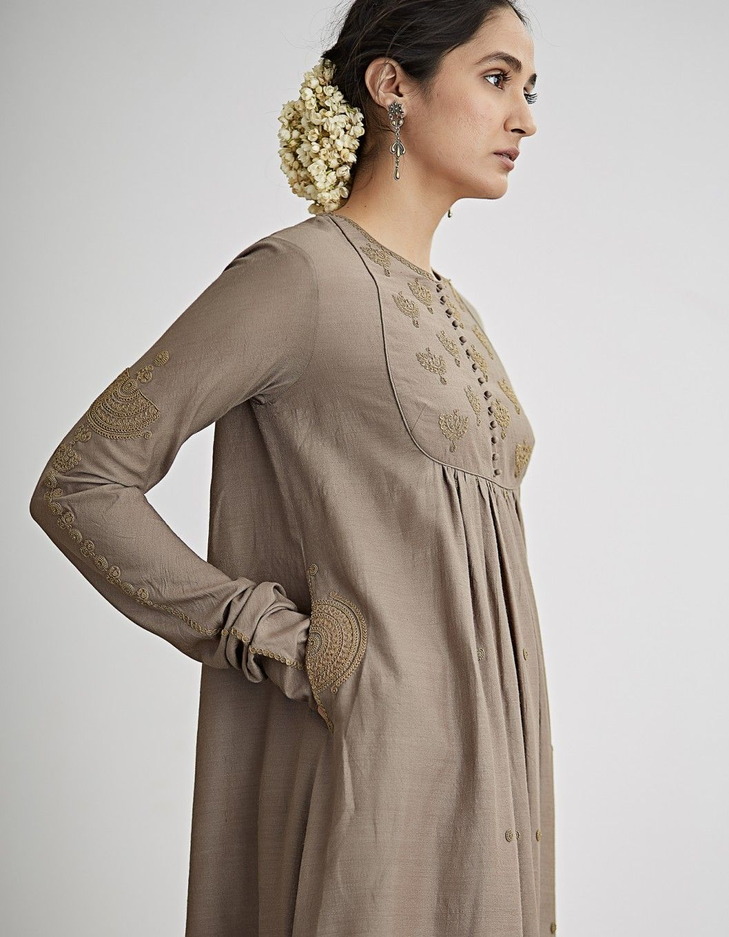 65692604ae Buy Grey Beige Embroidered Flared Kurta Set by Dhruv Singh Available at Ogaan  Online Shop