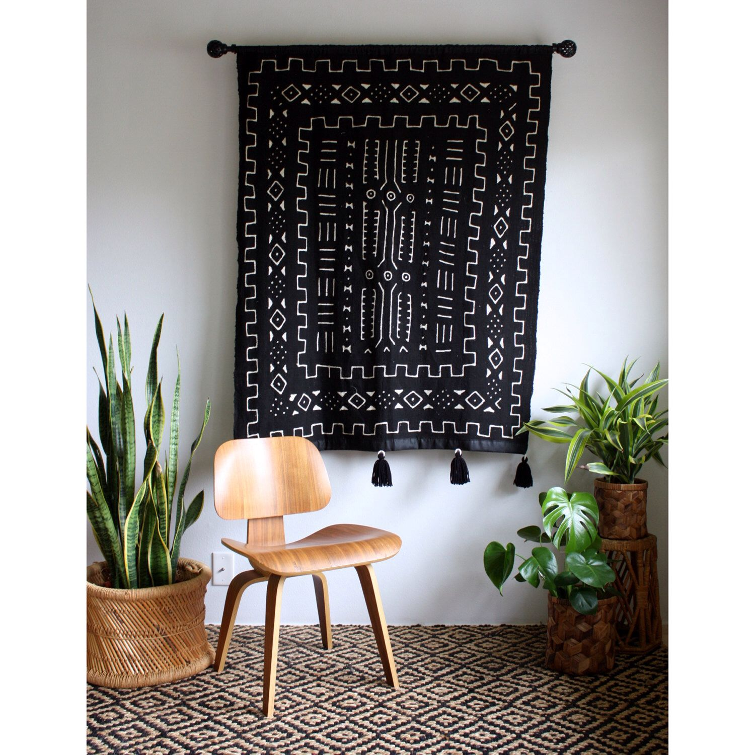 African Wall Hanging, Black Mudcloth, Mud Cloth Wallhanging ...