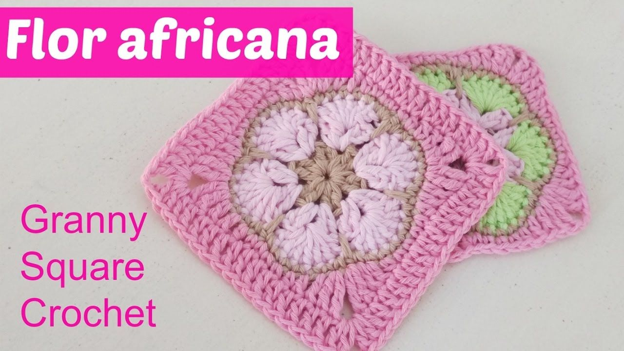 African flower transformed into square granny crochet | Estambre ...
