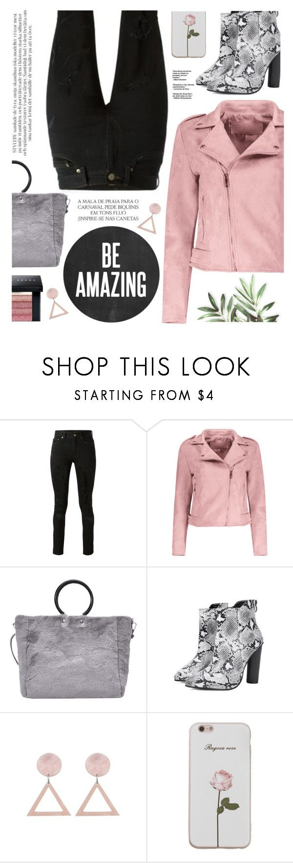 """""""PINK jacket"""" by yexyka ❤ liked on Polyvore featuring Yves Saint Laurent, Magdalena and Bobbi Brown Cosmetics"""