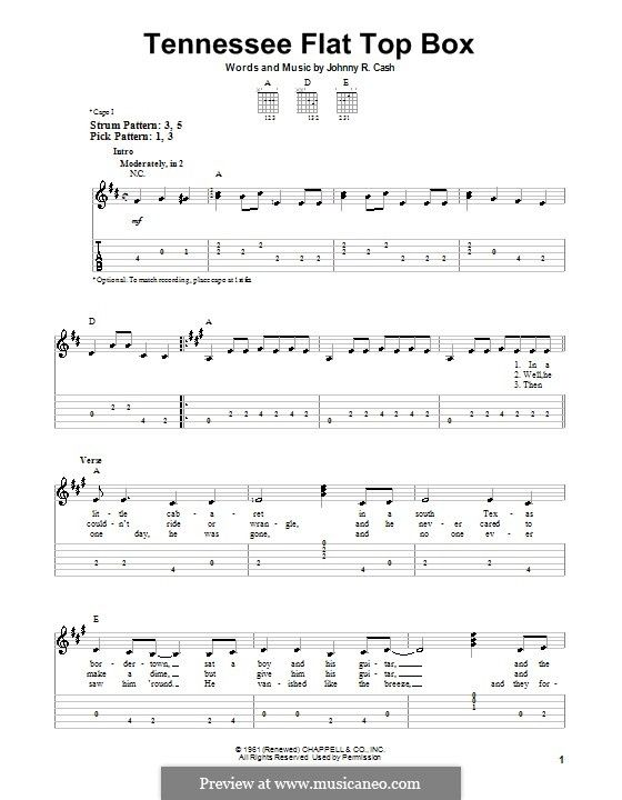 Tennessee Flat Top Box By J Cash Tennessee Flat Top Box Guitar Tabs Acoustic Music Chords