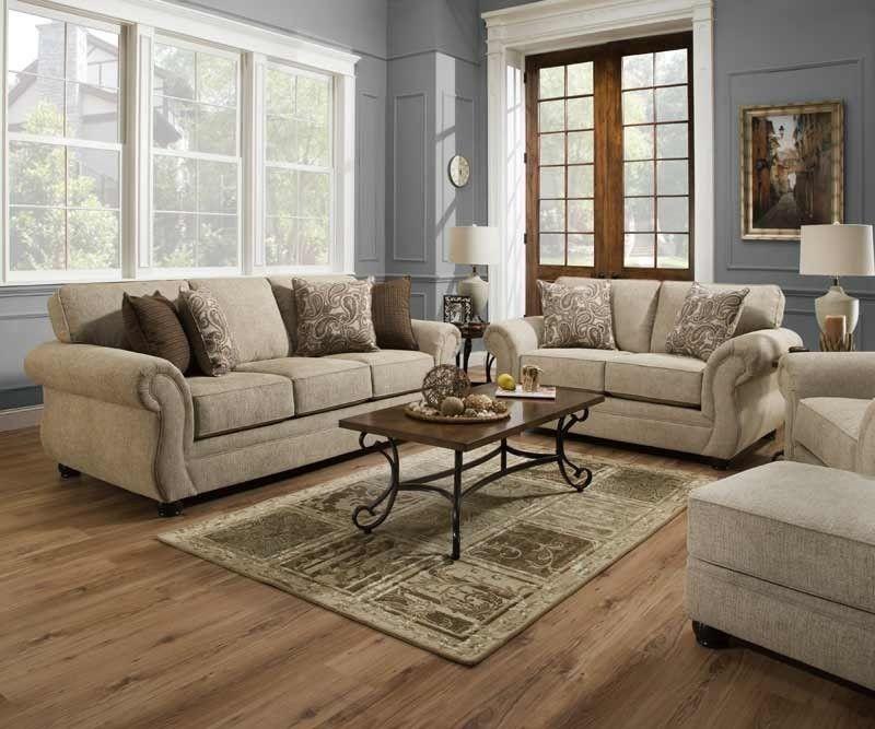Simmons Upholstery Camden Parchment 2 Piece Queen Sleeper Sofa