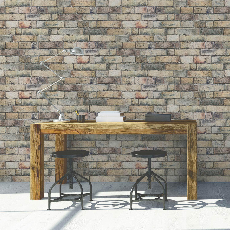 Papier Peint Brique Cuisine papier peint vinyle sur intissé brique anglaise jaune