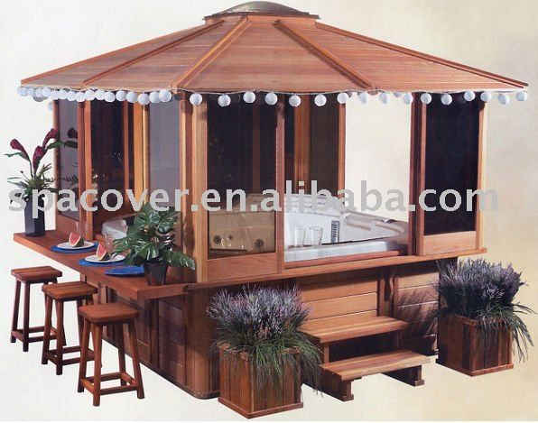 Gazebo Hot Tub Spa W Bar Outdoors Pinterest Hot