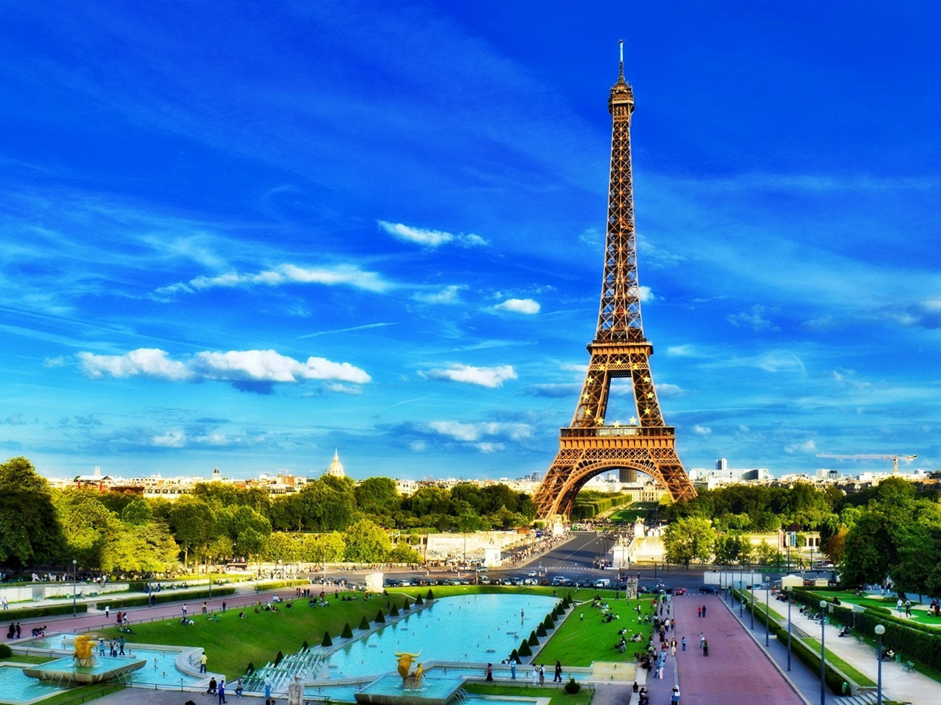 The Eiffel Tower is an iron lattice tower located on the