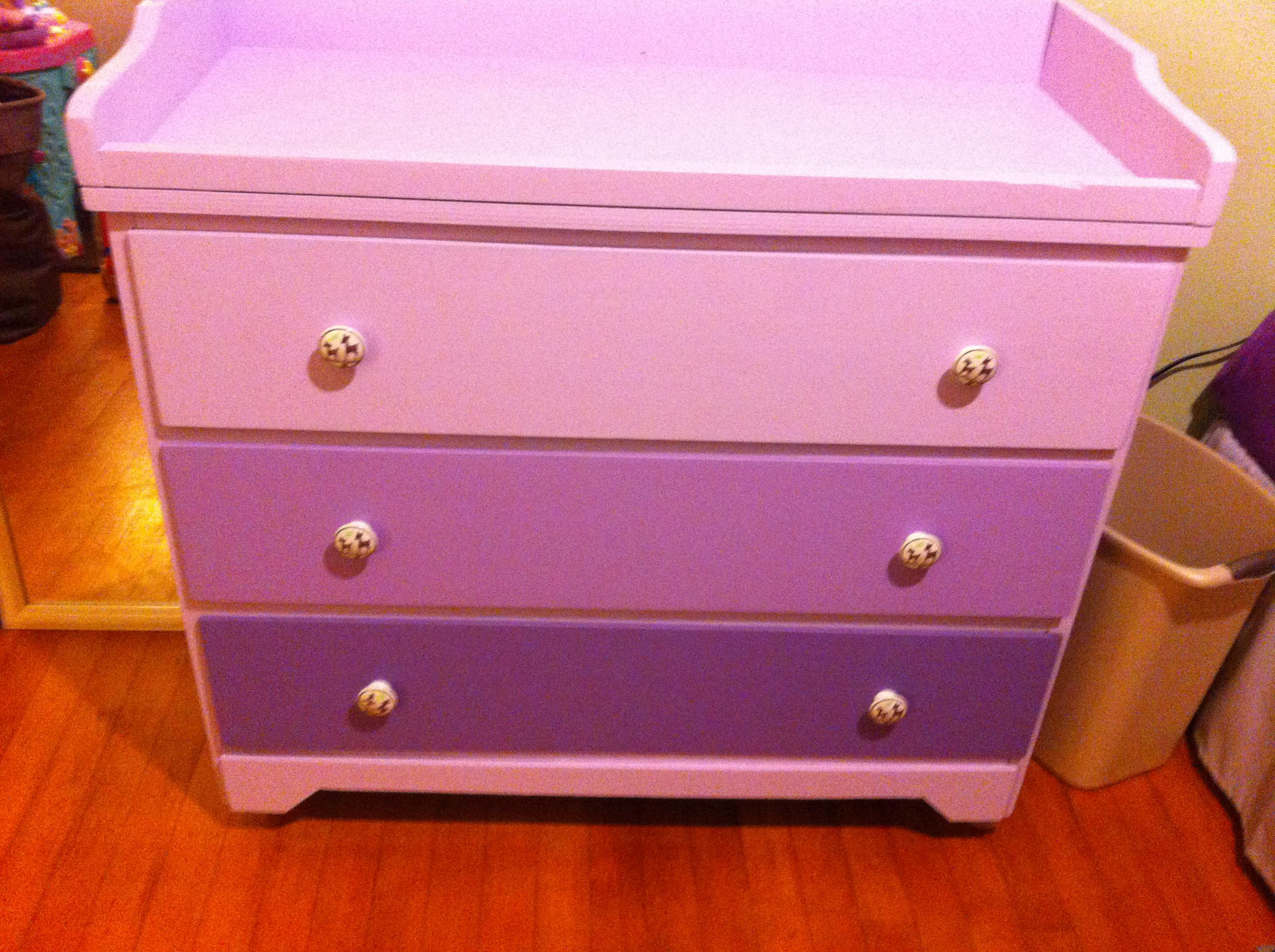 Little Girls Bedroom Dresser Tri Color Purple
