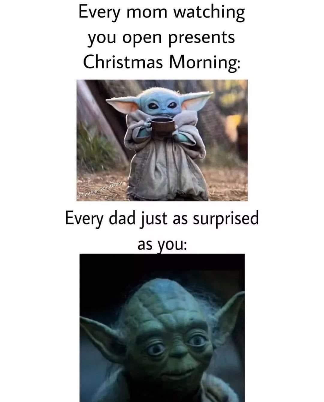 Here S Your Gift From Mom And Dad R Babyyoda Baby Yoda Grogu Yoda Funny Yoda Meme Dark Memes