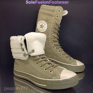 Converse All Star womens X HI Trainers Sz 6 Khaki Suede Fold Down Combat Boot  39